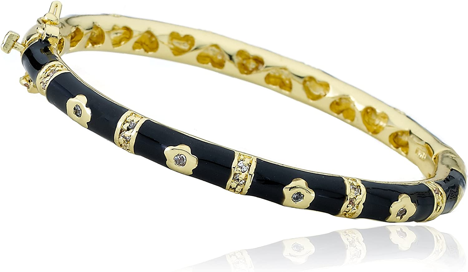 Little Miss Twin Stars Branded goods Max 65% OFF Outfit Black Gold-Plated Bangl 14k Makers
