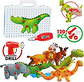 Take Apart Toy Dinosaur Kit for Kids Kit Toy for Boys & Girls Aged 3+ 3D Building Puzzles with Drill Screws Tools, Remoking 8 Different Animals, Learning Educational Toys for Kids