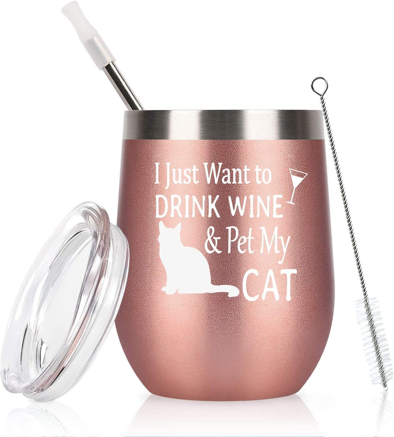 Cpskup I Just Want to Drink Wine Stemless Insulat and Cat Save money Pet Sale My