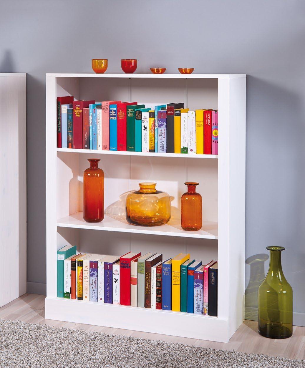 116 x 90 x 35 cm White Bookcase Office Shelf Living Room Shelf Unit 3 Shelves Solid Inter Link Left 40100390 Shelving Shelves