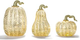 LampLust Gold Pumpkin Centerpiece with LED Lights - Set of 3, Mercury Glass Style, Fall, Autumn, Halloween & Thanksgiving Decorations, Batteries and Timer Included