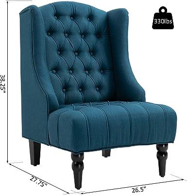 Pleasant Amazon Com Homcom Retro High Back Armless Chair Living Room Machost Co Dining Chair Design Ideas Machostcouk
