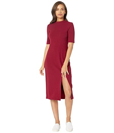 WAYF Gerry Slit Front Rib Knit Dress (Burgundy) Women