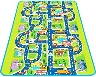 Trimming Shop Alfombra de Juegos para Actividades de Tienda de Recortes, no tóxica, Grande y Gruesa, de la Ciudad de tráfico de Carretera con Bolsa de Transporte para niños, Carpintero, bebé