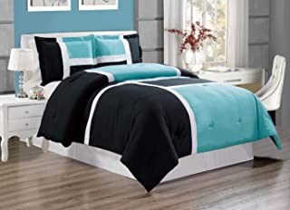 GrandLinen 3-Piece AQUA BLUE/BLACK/WHITE Color Stripe Duvet Cover set, QUEEN size Includes 1 Cover and 2 Shams - Brushed Microfiber - Luxury, Ultra Soft and Durable