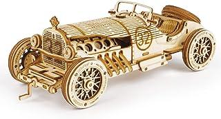 پازل چوبی 3D ROKR برای بزرگسالان-کیت های مدل ماشین مکانیکی-پازل های فکری-مغزی-کیت های ساخت وسایل نقلیه-هدیه منحصر به فرد برای کودکان در روز تولد / روز کریسمس (مقیاس 1:16) (ماشین MC401-Grand Prix)