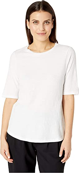 Petite Slubby Jersey Round Neck Elbow Sleeve Top