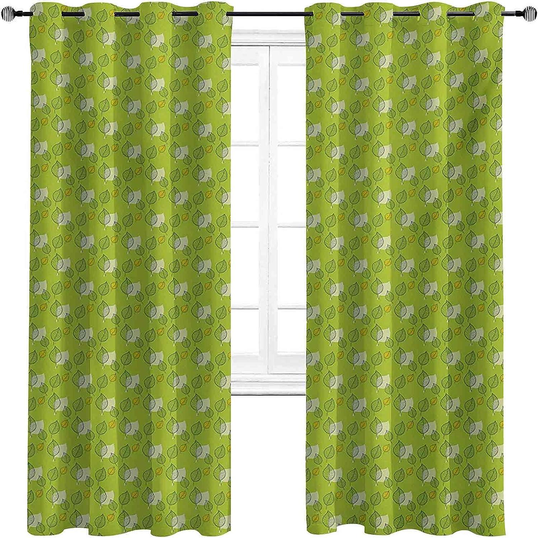 90% Blackout 2021 model shopping Green Curtains Abstract Defoli Leaf Falling Autumn