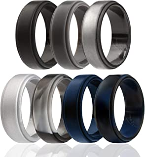 Silicone Wedding Ring for Men, 4 Packs & Singles Silicone Rubber Wedding Bands - Step Edge Sleek Design - Metallic, Black and Camo Colors