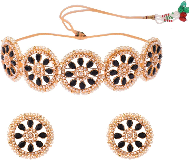 Efulgenz Indian Jewelry Bollywood Crystal Faux Pearl Choker Necklace Earrings Wedding Jewelry Set for Women Girls