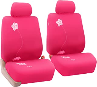 FH Group FB053PINK102 Seat Cover (Flower Embroidery Airbag Compatible (Set of 2) Pink)