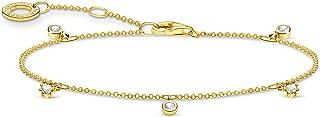 Thomas Sabo - Pulsera de piedras blancas de oro y plata de ley 925, 16-19 cm de longitud