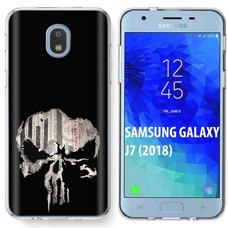 [NakedShield] Samsung Galaxy (J7 2018)/J7 Aero/J7 Refine/J7 Star/J737/J7 V 2nd Gen [Clear] Ultra Slim TPU Phone Cover Case [Punisher Skull Print]