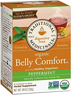 Traditional Medicinals Organic Belly Comfort Peppermint Digestive Tea, 16 Tea Bags (Pack of 1)