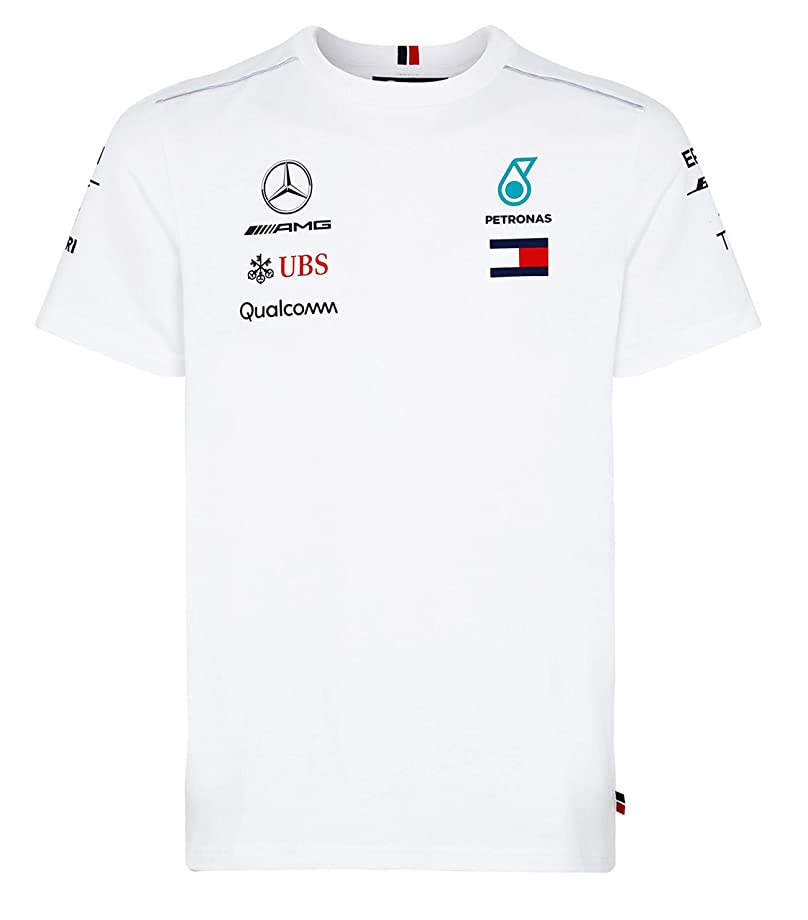 Mercedes Benz AMG Formula 1 Petronas White 2018 Men's Driver Team T-Shirt (Large)