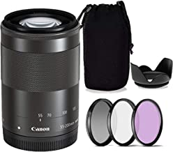 Canon EF-M 55-200mm f/4.5-6.3 is STM Lens w/Tulip Lens Hood + Lens Case & 3-Piece Filter Kit (White Box, New)