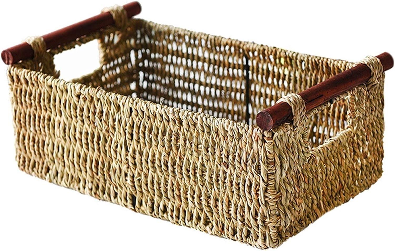 lxm Award Handmade Seaweed Woven Wooden Drawer Storage Basket Handle Bombing free shipping