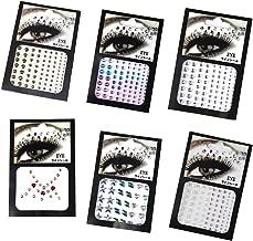 CheeseandU 6Pcs 3D Eyes Body Face Jewelry Acrylic Rhinestone Stickers Glitter Flash Crystal Eyes Temporary Tattoo DIY Nail Art Decorations Fashion Face Stickers for Women Party Festival Accessory