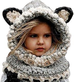 9fc971c2e069a Freessom Bonnet Echarpe Set Hiver Cagoule Renard Unisexe Bebe Enfant Garcon  Fille Mignon Kawaii Chaud Tricote