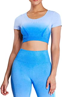 Aoxjox Women's Workout Ombre Contorl Short Sleeve Seamless Crop Top Gym Sport Yoga Shirts