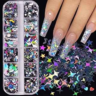 Holographic Nail Glitter, 12 Grids 3D Holographic Butterfly Nail Art Stickers Iridescent Laser Silver Nail Confetti Glitte...
