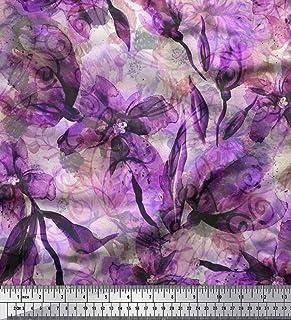 5b05ed077d463 Soimoi Violet Soie en Tissu Floral   Texture Tissu Imprime par Metre 42  Pouce Large