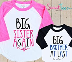 Big Sister Again Big brother at last Shirt Set Set Shirt Black Raglan Matching Shirts Gift Pregnancy Announcement