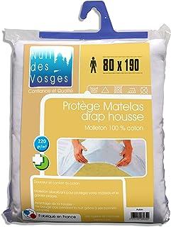 Nuit des Vosges 2035377 Aubin Protège Matelas Absorbant Molleton/Coton Blanc 80 x 190 cm