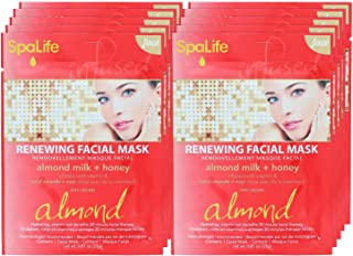SpaLife Hydrating, Purifying, Anti-Aging, Detoxifying and Soothing Korean Facial Masks - 10 Masks (Almond Milk + Honey)