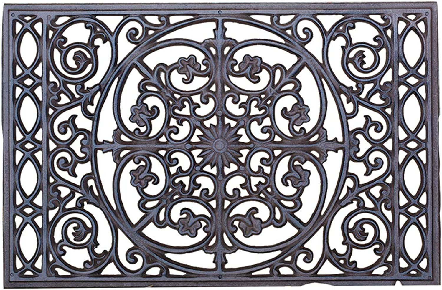 Sungmor Heavy Duty Cast Iron Doormat,22  x 14.4  Rectangle with Vintage & Rustic Pattern Design,Decorative Mat and shoes Scraper for Door Front Or Garden Path