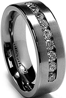 Metal Masters Co. 8 MM Men's Titanium Ring Wedding Band with 9 Large Channel Set Cubic Zirconia CZ Sizes 6 to 15