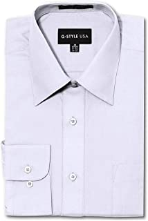 G-Style USA Men's Regular Fit Long Sleeve Solid Color Dress Shirts - White - X-Large - 32-33