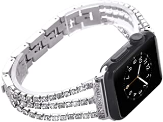 NikoStore Watch Straps Compatible Apple Watch 42mm/44mm,Women Bling Stainless Steel Armband,Silver Bracelet with Folding Clasps Replacement Wristband for iWactch 44mm 42mm Series 4/3/2/1