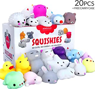 20 Squishy Toys Pack, Free CASE, 16 Animals, 11 Colors, AWEGLO Mochi Squishy Toys Party Favors for Kids, Mini Cat Squishie...