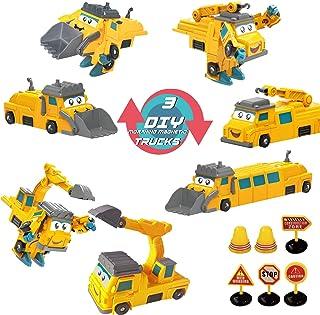 MAGIC4U Magnetic Take Apart Construction Trucks ,Construction Magnet Toys Trucks Vehicles Robots Mix and Match Play Cars D...