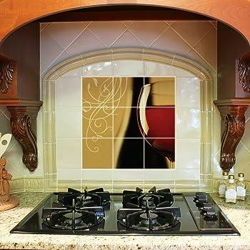 Kitchen Backsplash Ceramic Tile Red Wineglass Nine 4 25 X4 25 Tiles Amazon Com