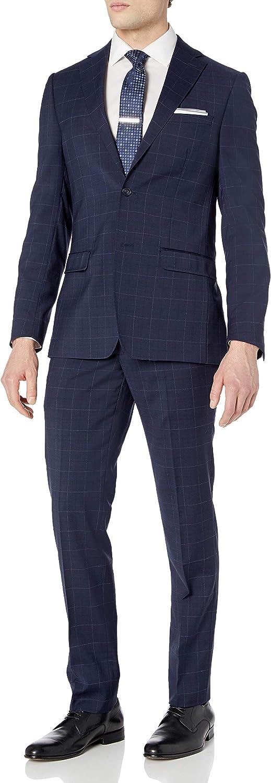 DKNY Men's Slim Fit Soft Suit, Navy Plaid, 40R