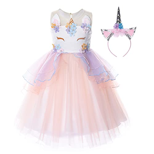 31b3177129a JerrisApparel Flower Girls Unicorn Costume Pageant Princess Party Dress