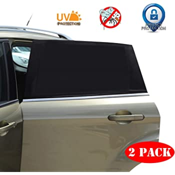 Universal Car Window Sun Shade - 2 Pack Breathable Mesh Car Rear Side Window Shade Sunshade UV Protection for Baby Family Pet, SIZE L Mosquito Net Curtains Fit for Most(95%) of Cars, Cover Full Window
