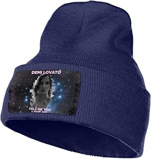 MichaelRoberson Skull Cap Thick Womens Mans Knit Beanie Hat Demi Lovato Tell Me You Love Me Fashionable Thermal Knit Hats Navy