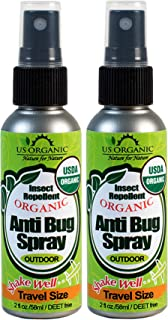 US Organic Mosquito Repellent Anti Bug Outdoor Pump Sprays, 2 Ounces Travel Size, with USDA Certification and Cruelty Free, Proven Results by Lab Testing, 2 Value Pack