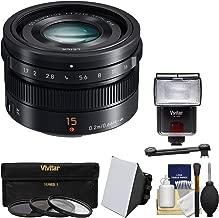 Panasonic Lumix G 15mm f/1.7 Leica DG Summilux Lens with 3 Filters + Flash & 2 Diffusers + Kit for G5, G6, GF5, GF6, GH3, GH4, GM1, GX7 Cameras