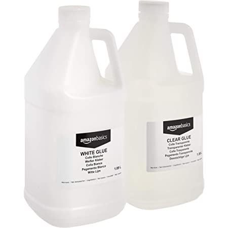 Amazon Basics 1/2 Gallon Clear Glue and 1/2 Gallon White Glue, 2-Pack Combo - Glue for Perfect Slime