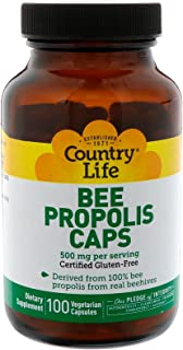 Country Life Bee Propolis 500mg Daily Supplement -100% Bee Pollen Extract Clean Immune Health Support - Gluten-Free, Soy-F...