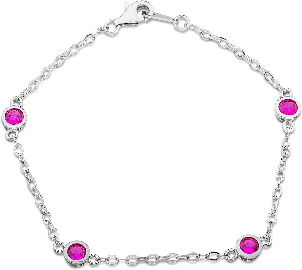 Miore, braccialetto da donna in argento sterling 925(2,4 gr) rodiato,con zirconi rosa taglio rotondo MS011B