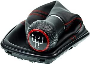 L&P Car Design GmbH 253-4 Funda para Palanca de Cambio con Costura Roja con Pomo y Marco Negro