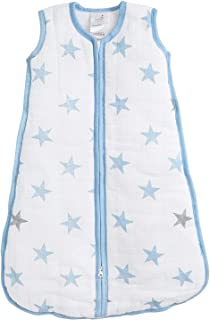 Aden by Aden and Anais Dapper 2.5 TOG Muslin Sleeping Bag, Blue, White, Small