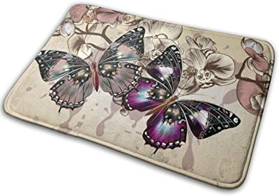 Purple Butterflies Floral Beige Bath Rugs Non-Slip Carpet Entrance Front Door/Kitchen/Bedroom Mats Pet Entrance Floor Mat