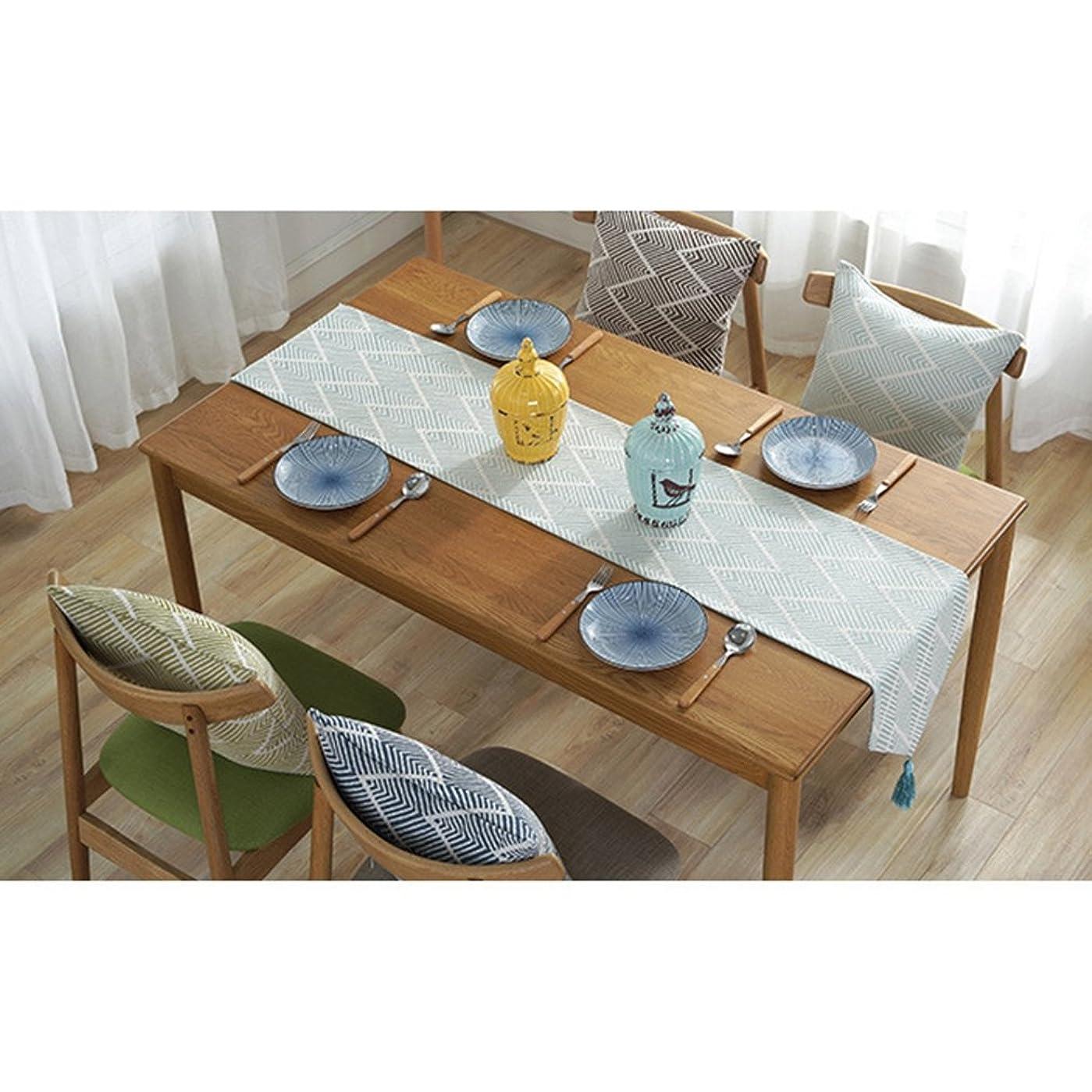 なめらか詳細に補助[Ziv-Nat] テーブルランナー 水色 ブルー 32×180cm 北欧 モダン 幾何模様 おしゃれ 洗える ジャカール アジアン 和風 ペンダント付き
