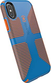 Speck Products iPhone Xs/iPhone X Case, CandyShell Grip, Skydive Blue/Pumpkin Orange